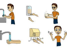 #14 para 5 drawings for a strip depicting the washing of hands for children por nishankumar