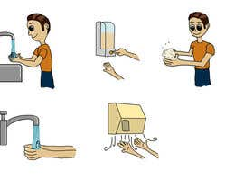 #15 para 5 drawings for a strip depicting the washing of hands for children por nishankumar