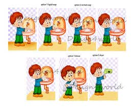 #8 untuk 5 drawings for a strip depicting the washing of hands for children oleh design4world