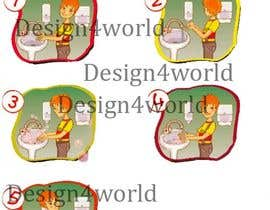 Nro 12 kilpailuun 5 drawings for a strip depicting the washing of hands for children käyttäjältä design4world