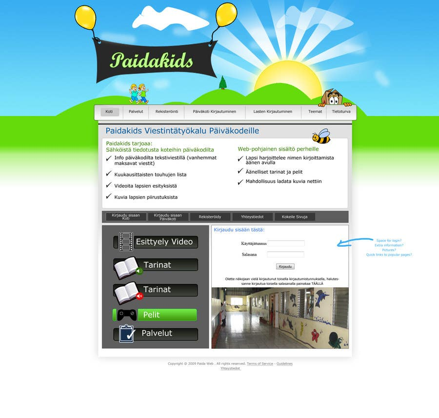 Contest Entry #6 for Graphic Redesign: Front page of web app for nursery schools (PSD)