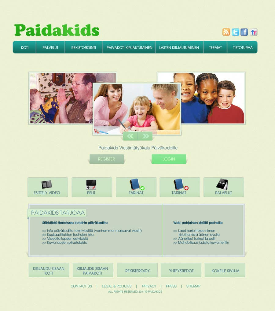 Natečajni vnos #                                        24                                      za                                         Graphic Redesign: Front page of web app for nursery schools (PSD)