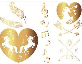 aleksandra10 tarafından Design, illustrate or art work - Metallic temporary tattoo flash sheets Unicorns and love için no 13
