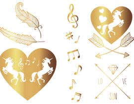 aleksandra10 tarafından Design, illustrate or art work - Metallic temporary tattoo flash sheets Unicorns and love için no 30