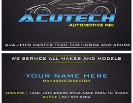 Nro 30 kilpailuun Design some Business Cards for acutech automotive inc using existing logo käyttäjältä mkdoluweera
