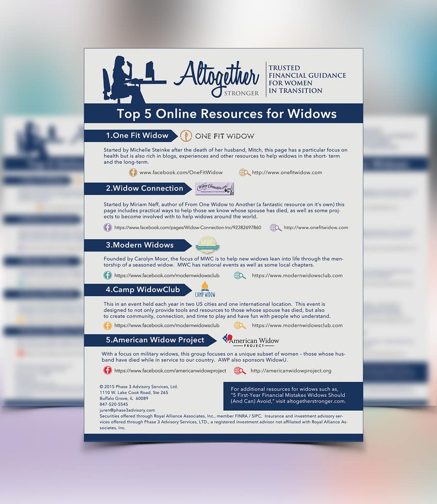 I need some Graphic Design for 1-Page Widow Resource Guide