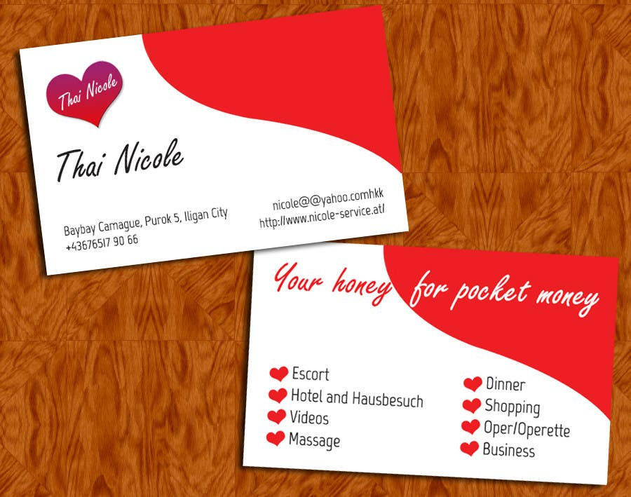 Entry #3 by tnovarria for Calling Card for Escort Service   Freelancer