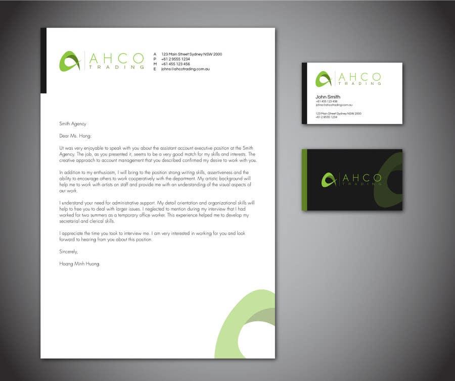 Inscrição nº 44 do Concurso para Ahco Trading - Business Card & Letterhead Template