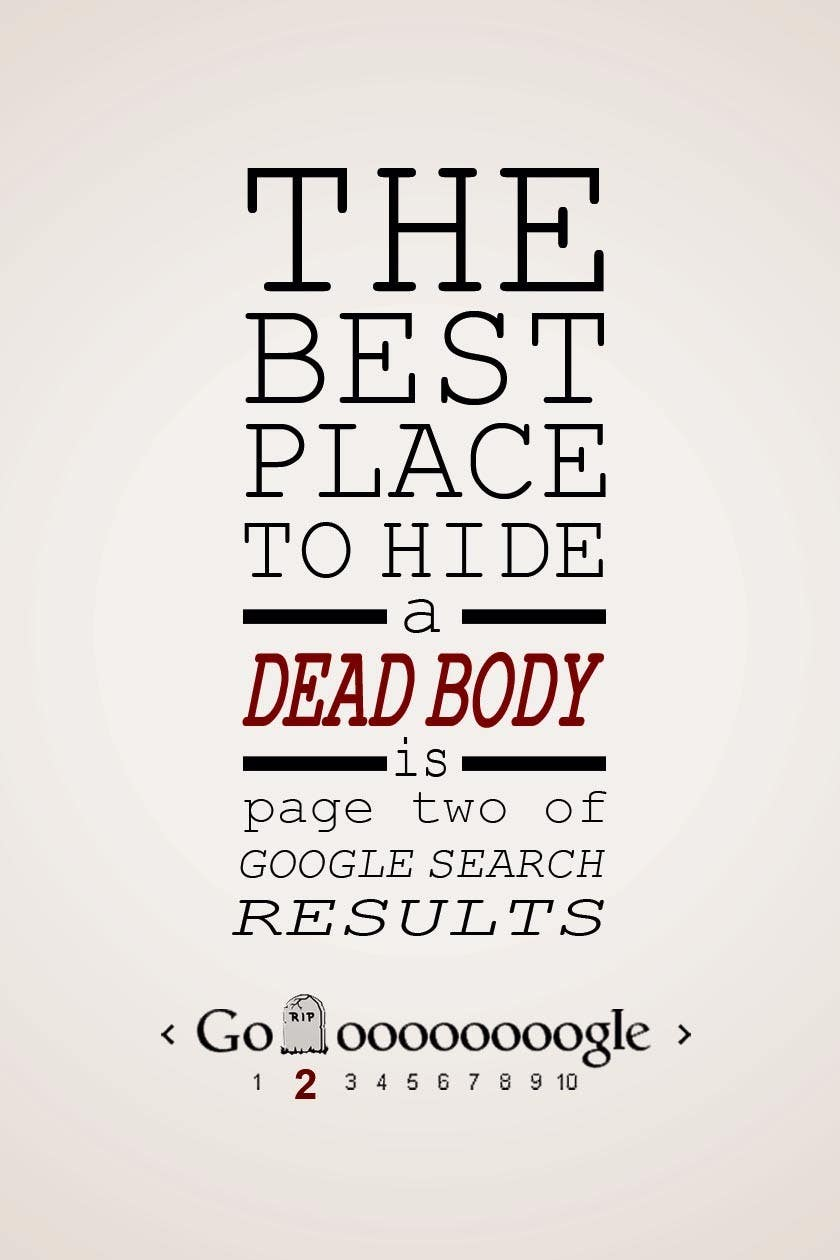 "Contest Entry #                                        14                                      for                                         Design me a poster. ""Best place to hide a dead body is page 2"