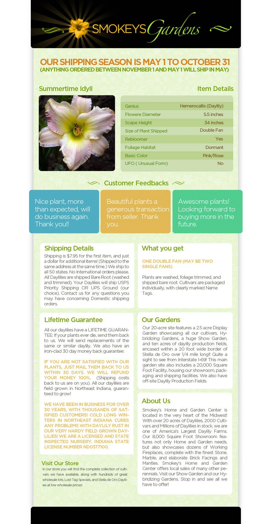 Proposition n°                                        61                                      du concours                                         Graphic Design for Smokeys Daylily Gardens