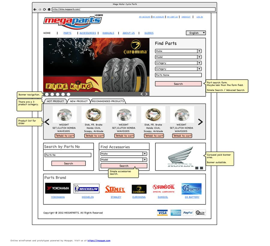 #6 for Design a Website Mockup for megaparts.com by furkanacikgoz