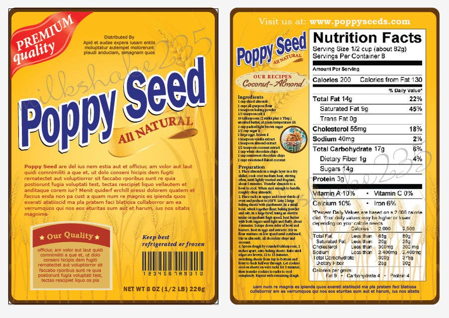 #5 for Create Print and Packaging Designs for a Pack of Poppy Seeds by milkshake235