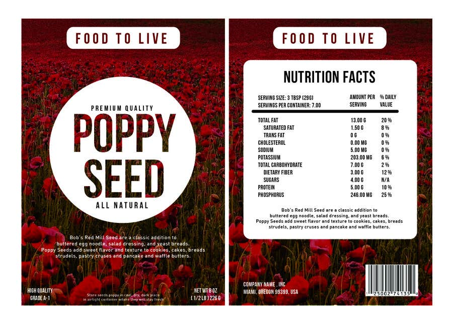 #12 for Create Print and Packaging Designs for a Pack of Poppy Seeds by mikezipper23