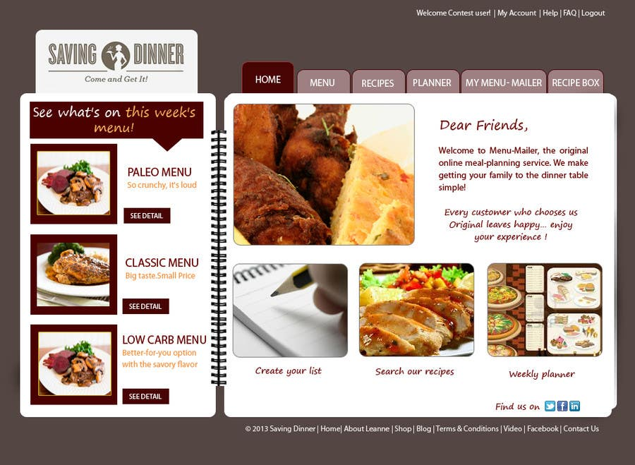 #23 for Design a Website Mockup for our Premium Menu-Mailer website. by HBPC