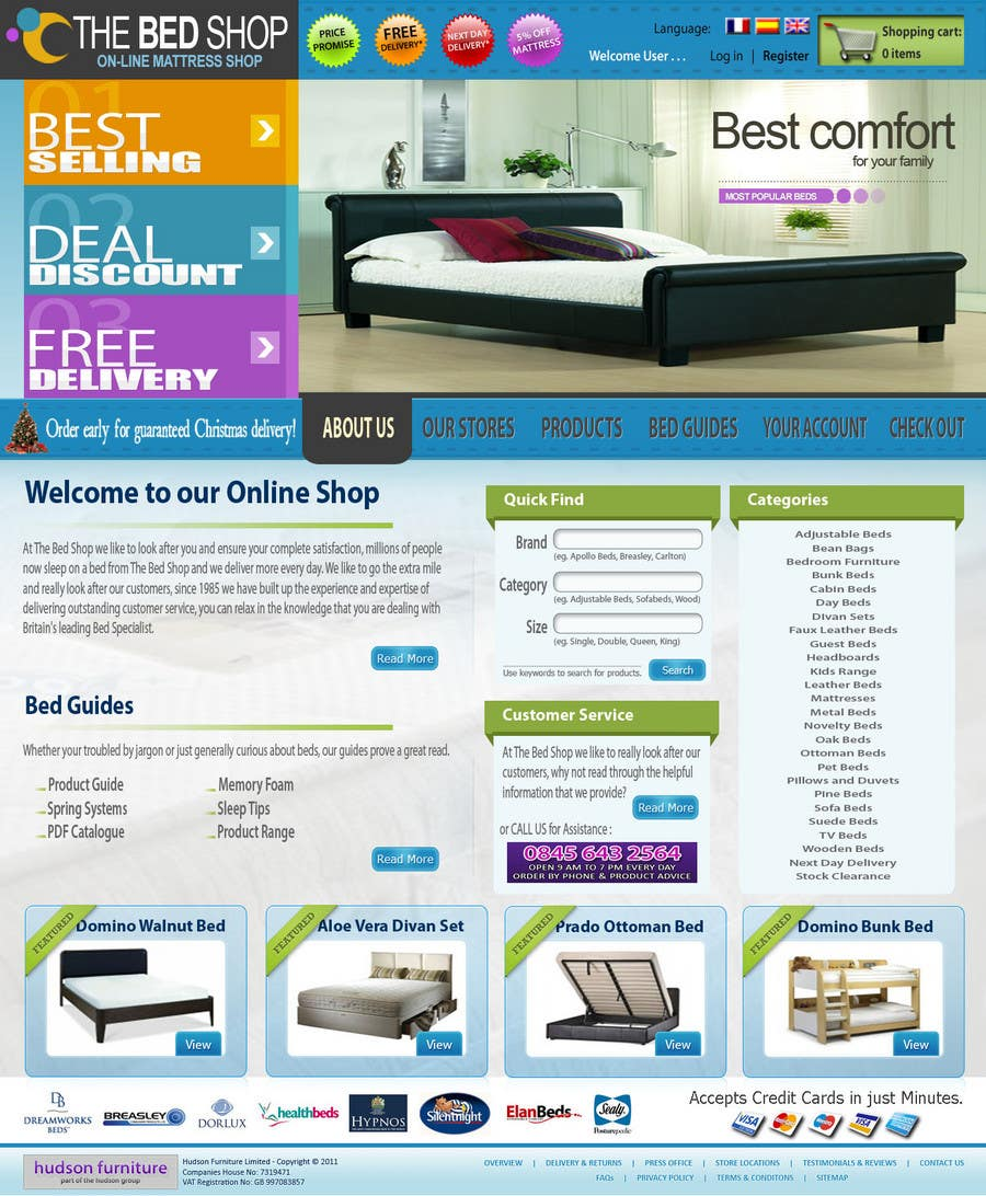Proposition n°13 du concours Website Design for The Bed Shop (Online Furniture Retailer)
