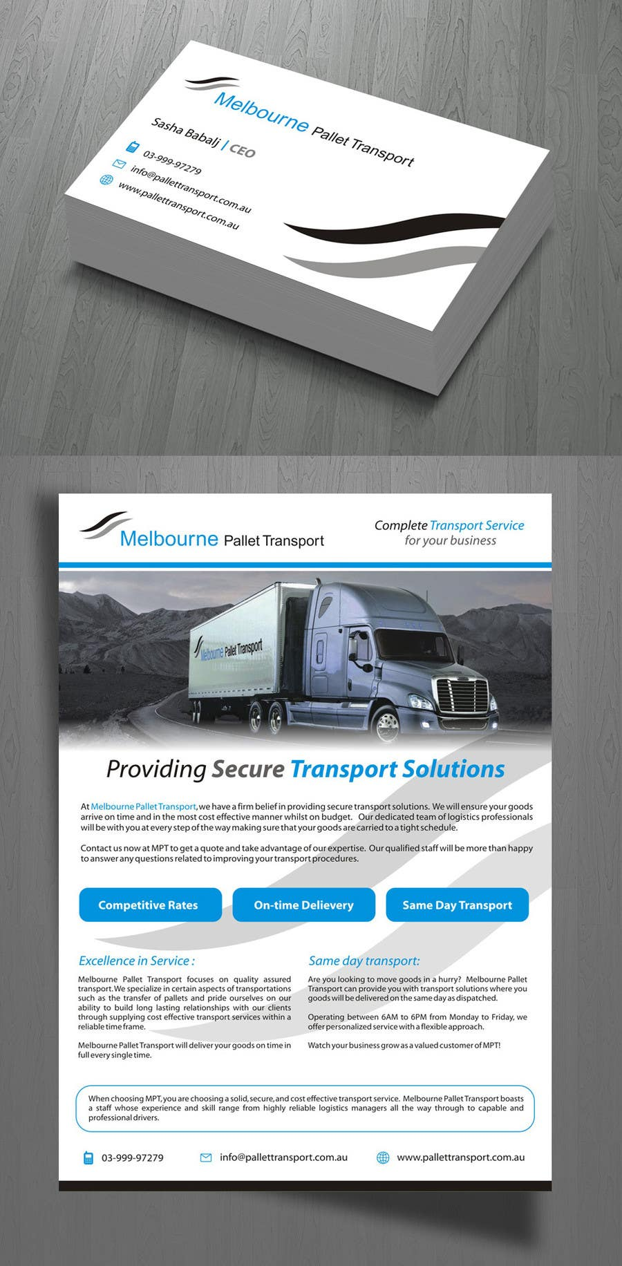 #15 for Design some Business Cards for Melbourne Pallet Transport by suneshthakkar