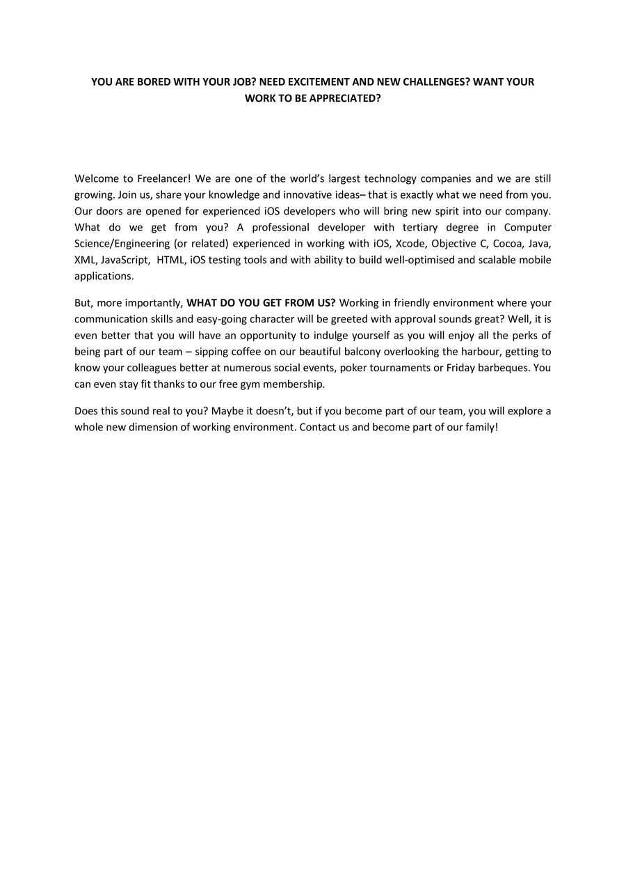 Proposition n°20 du concours Write a job ad for me