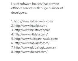 Nro 6 kilpailuun List of software house that provide offshore services with huge number of developers käyttäjältä enzob88