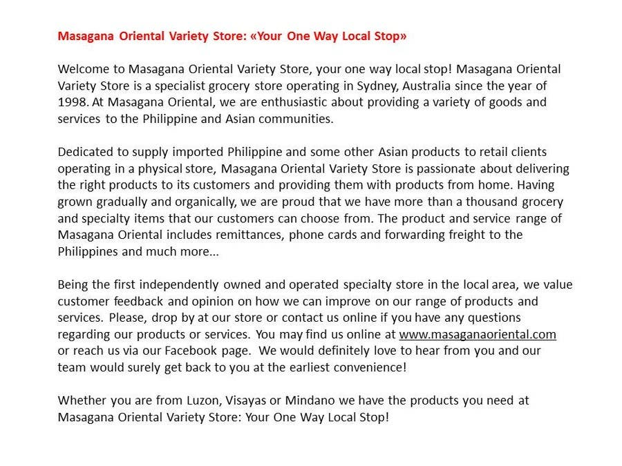 #35 for Write a tag line/slogan and content for a Specialist Philippine Grocery Store by freelancetutor