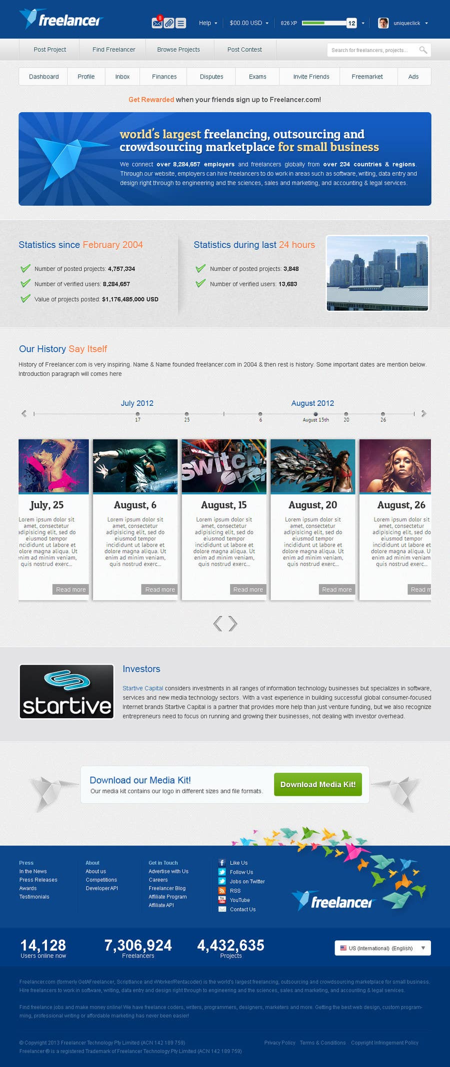 Bài tham dự cuộc thi #                                        5                                      cho                                         Create a Website Mockup for the Freelancer.com About Us Page