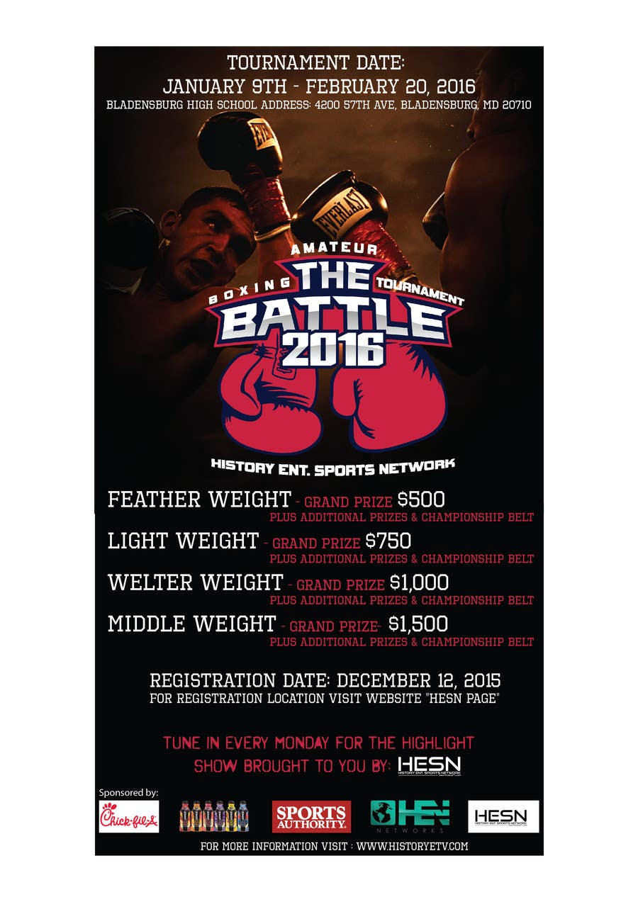 Contest Entry #                                        6                                      for                                         Design a Flyer for my Boxing tournament Easy money!