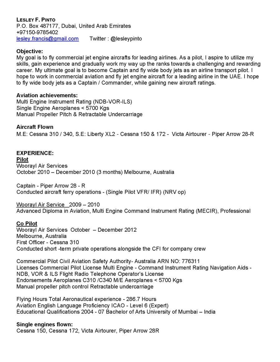 Entry 1 By Nycjobs For Aviation Resume Updo