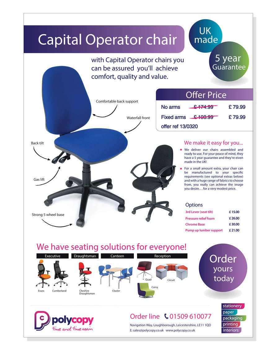 Kilpailutyö #13 kilpailussa Chair flyer A4