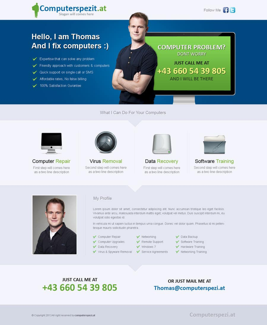 #9 for Design a single Page Website with Logo for a PC repair service by uniqueclick