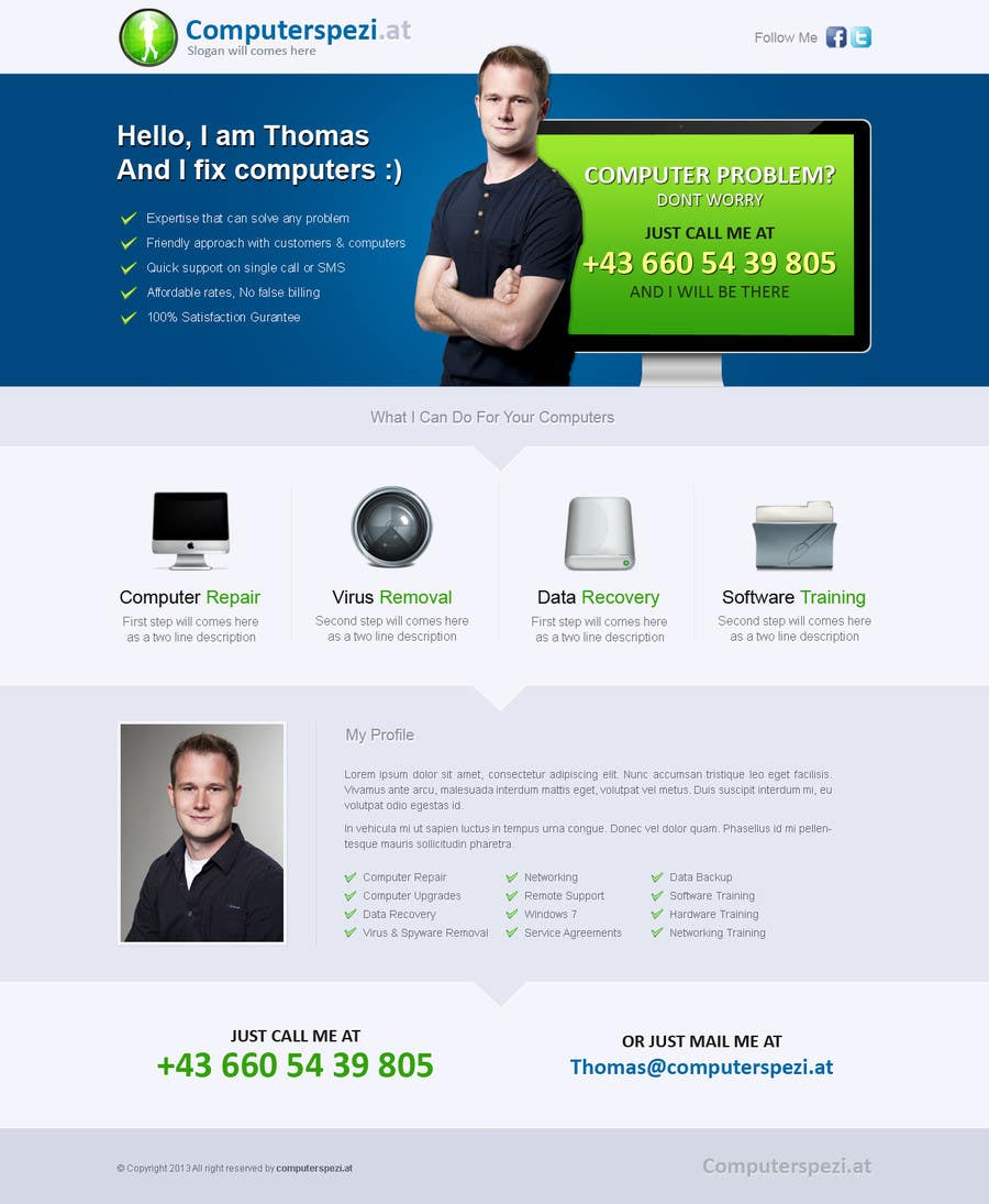 #16 for Design a single Page Website with Logo for a PC repair service by uniqueclick