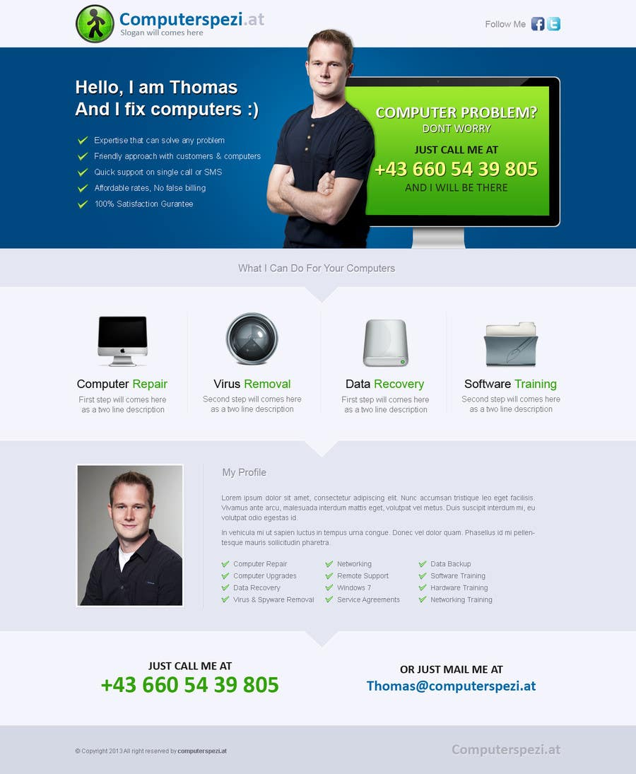 #22 for Design a single Page Website with Logo for a PC repair service by uniqueclick