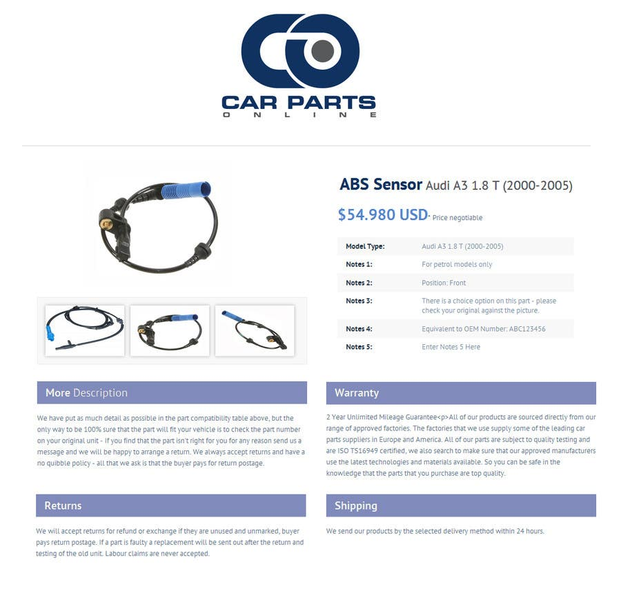 Contest entry 2 for html ebay listing template car parts online