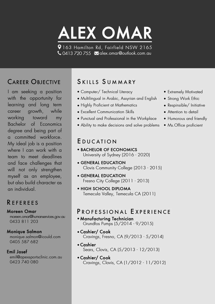 Entry #5 by vennesmartaline for Design a nice CV/resume. | Freelancer