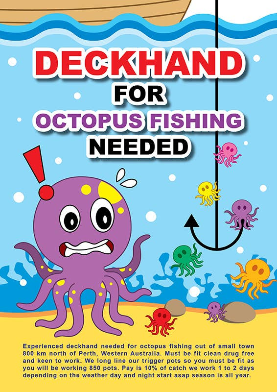 Cartoon about a quirky job advertisement for octopus for Deckhand fishing jobs