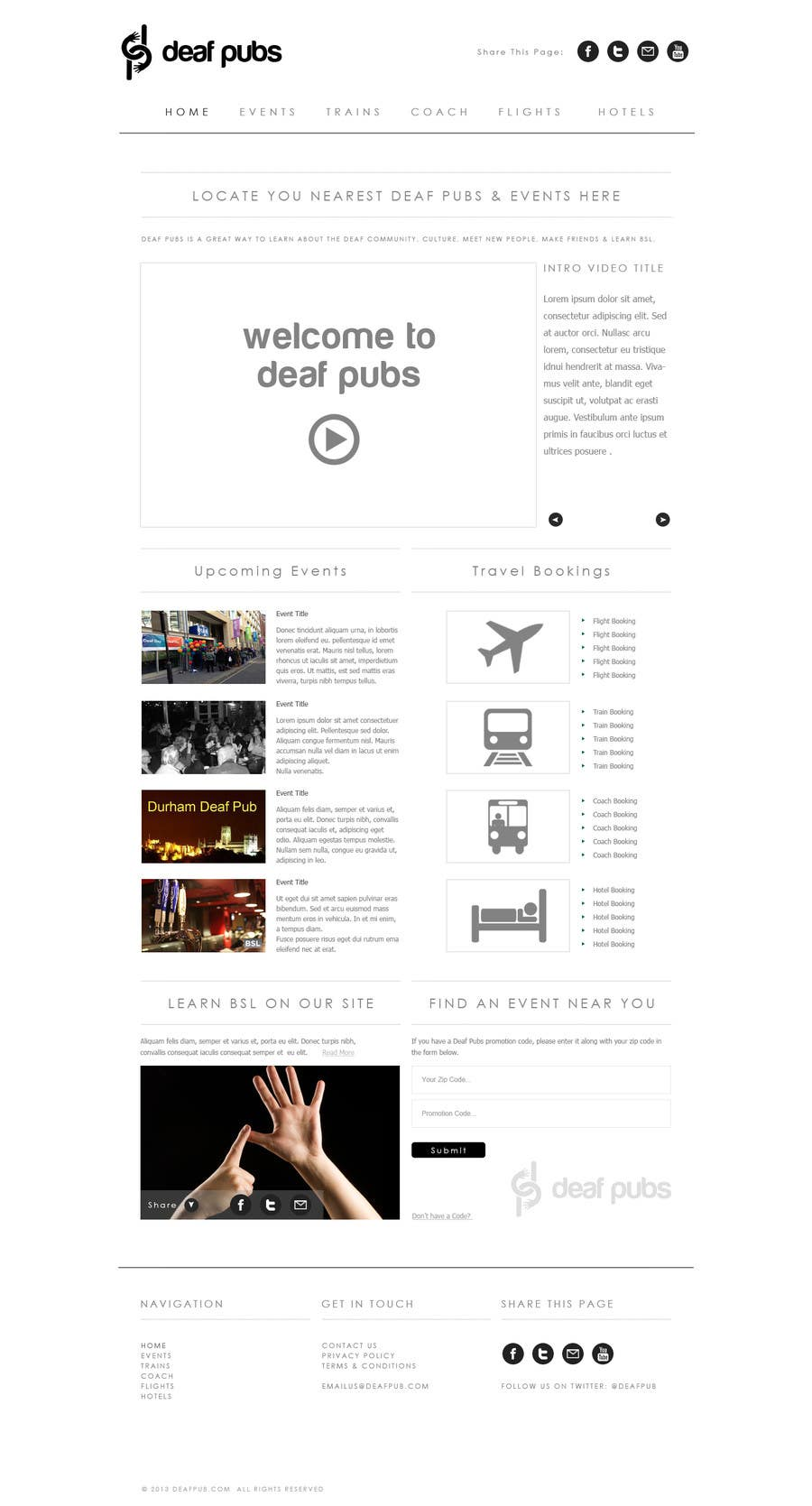 #4 for Design a Website Mockup for Deaf Pubs by JosephNgo
