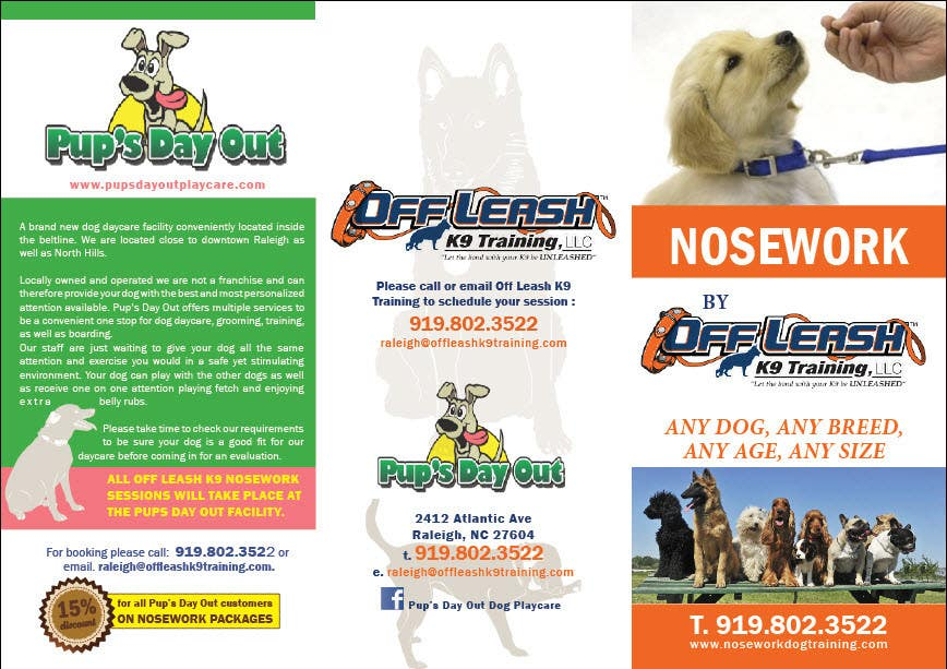 Inscrição nº                                         8                                      do Concurso para                                         Design a Partnership Brochure for Off Leash K9 Raleigh and Pups Day Out