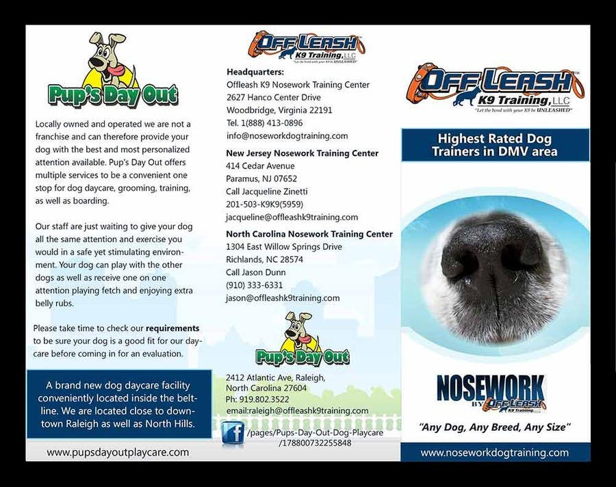 Inscrição nº                                         1                                      do Concurso para                                         Design a Partnership Brochure for Off Leash K9 Raleigh and Pups Day Out