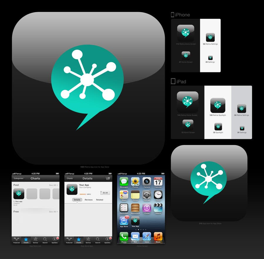 Inscrição nº 1 do Concurso para design icon for an iphone application