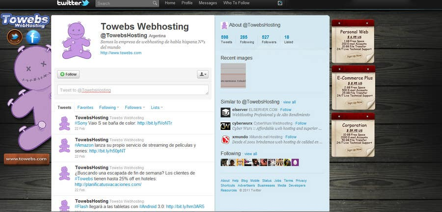 Bài tham dự cuộc thi #18 cho Twitter Background for towebs.com
