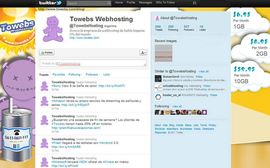 Kilpailutyö #                                        14                                      kilpailussa                                         Twitter Background for towebs.com