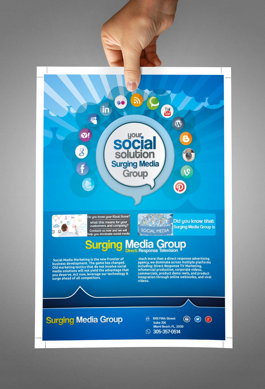 #10 for Design a Flyer for Surging Media Group by abdelaalitou