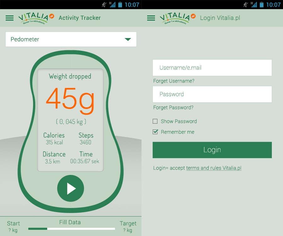 "#119 for Design for mobile app ""Vitalia tracker"" (design only) by sreenu53"