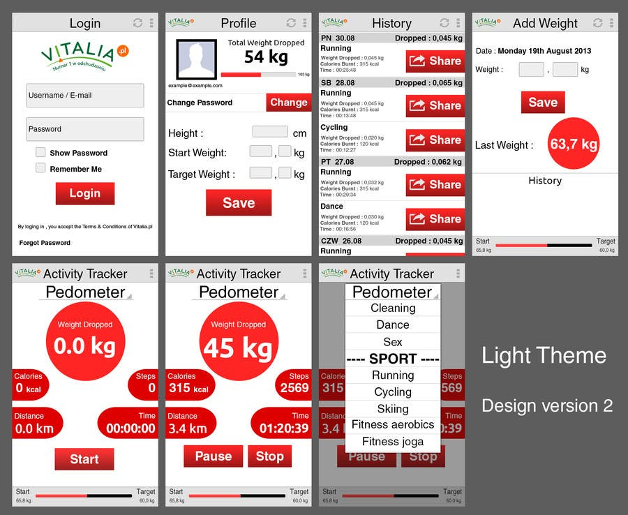 "#32 for Design for mobile app ""Vitalia tracker"" (design only) by oxhey"