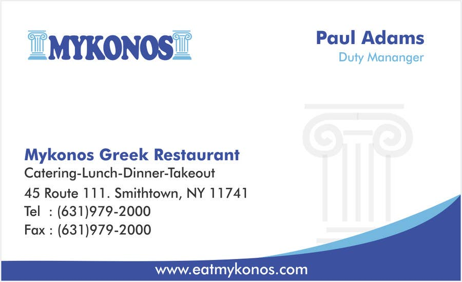 #2 for Design some Business Cards for Mykonos Greek Restaurant by vcvidath