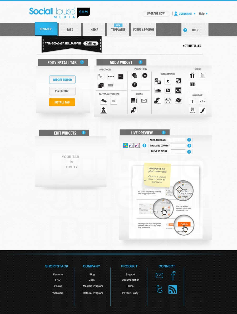 Proposition n°17 du concours Website Design for Social House Media: Widget Page