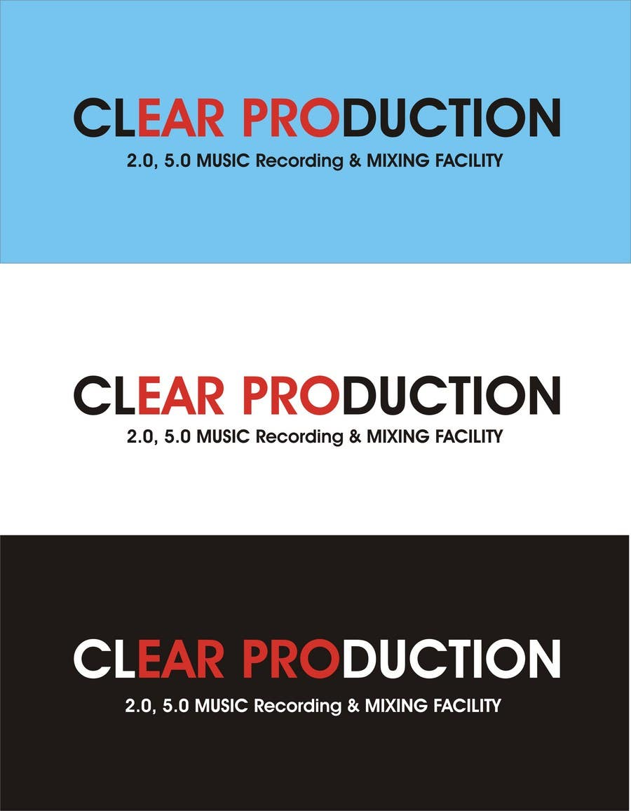 """Contest Entry #                                        1407                                      for                                         Logo Design for """"CLEAR PRODUCTION"""" - Recording a mixing studio in Copenhagen"""
