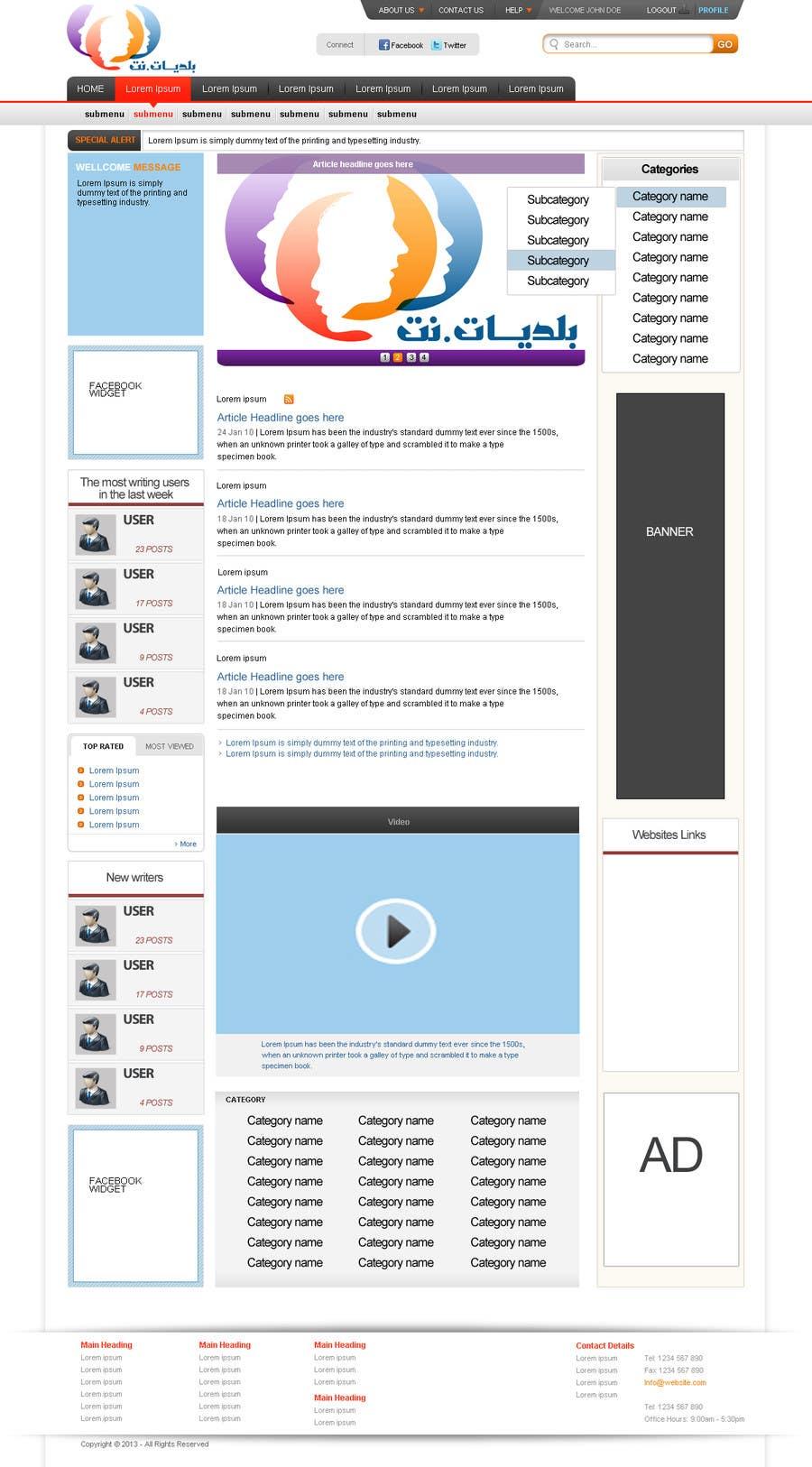 Konkurrenceindlæg #1 for Design a Website Mockup for an articles website