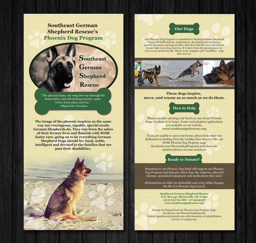 Inscrição nº                                         7                                      do Concurso para                                         Design a Brochure for Southeast German Shepherd Rescue's Phoenix Dog Program