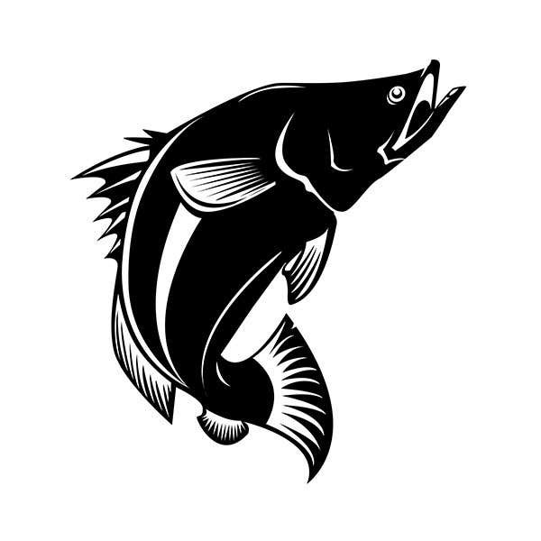 Entri kontes 11 untukblack and white vector illustration of fish