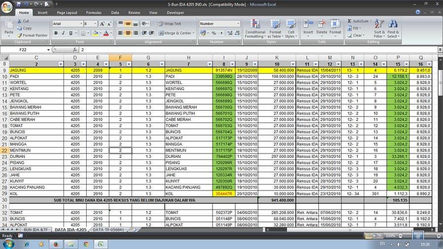 Inscrição nº 42 do Concurso para Mengisikan sebuah Lembar Kerja dengan Data