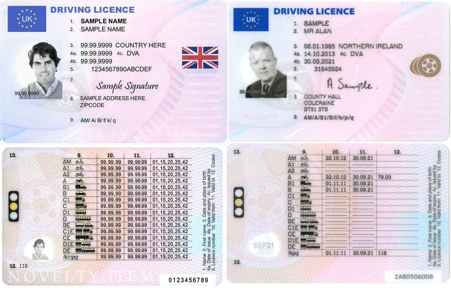 Uk Drivers license template Psd